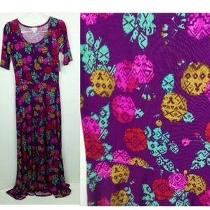 Lularoe Ana Maxi Dress Floral Bright Colorful